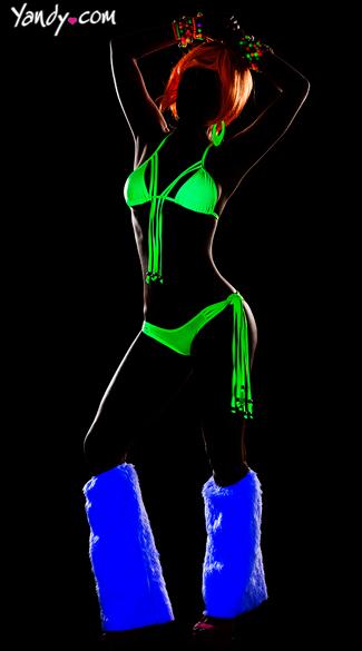 Tassel Bra and Panty Set - Neon Green