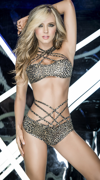 Criss-Cross Leopard Print Dance Set, Strappy Leopard Dance Set, Leopard Bra Set