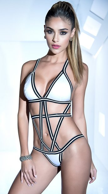 Striped Cage Bodysuit, black and white bodysuit - Yandy.com