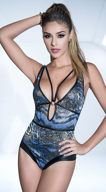 Into The Wild Strappy Bodysuit - Midnight Blue