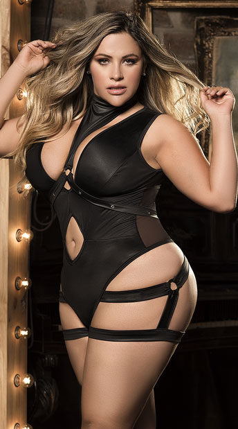 Plus Size Harnessed Hottie Bodysuit, Black Harness Bodysuit - Yandy.com