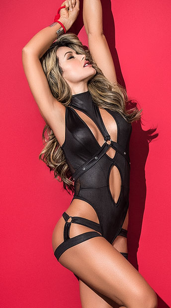 Harnessed Hottie Bodysuit, Black Bodysuit With Removable Harness Accessory - Yandy.com