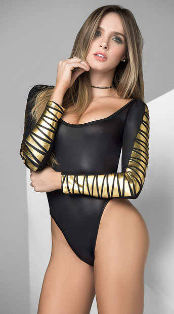 Touch of Gold Bodysuit, black bodysuit - Yandy.com