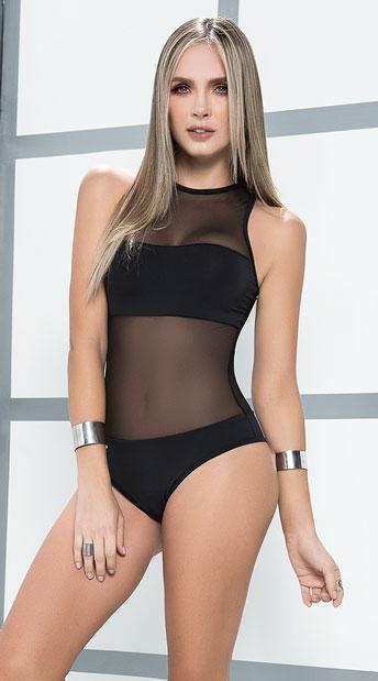 Sheer Illusion Bodysuit - Black