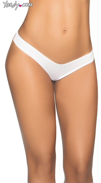 Wide Side Straps Scrunch Thong - White