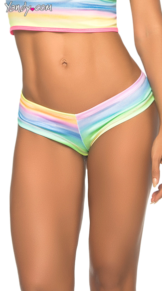 Cheeky Wild Side Boyshort, Cheetah Print Neon Panties, Sexy Rainbow Underwear