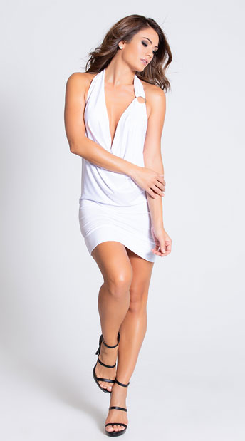 Deep Cowl Neck Party Dress - White