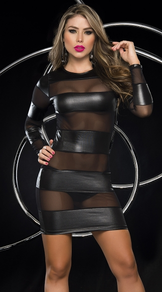 Black Banded Bodycon Dress, Wetlook and Mesh Dress