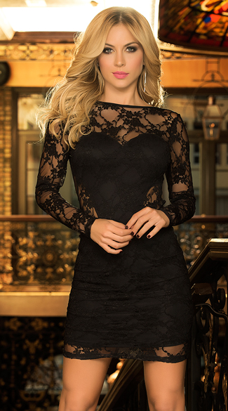 Brown long sleeve lace dress