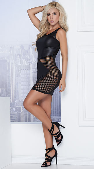 Late Night Daredevil Dress, Black Wet Look Dress, Black Fishnet Dress