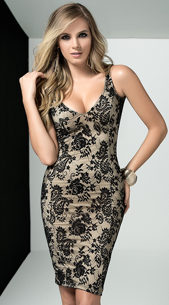 Romantic Floral and Paisley Dress, sexy nude dress - Yandy.com