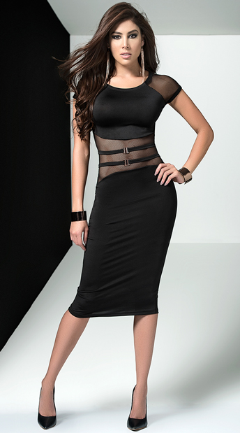 Fierce Black Midi Dress - Black