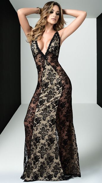 Seductive Lace Gown, black and nude gown - Yandy.com