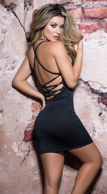 Laced Black Mini Dress - Black