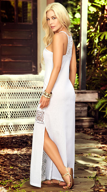Intricate Crochet Maxi Dress - White