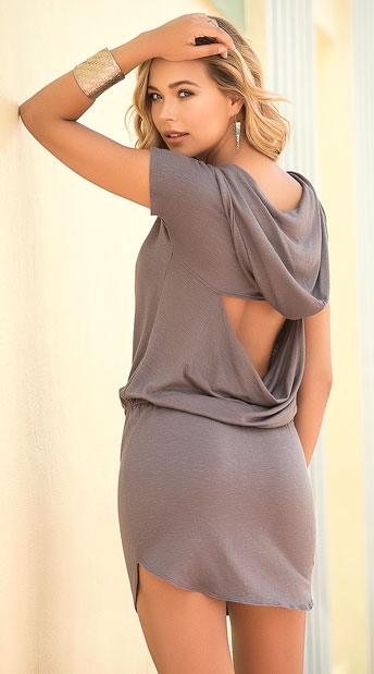 Grey Hooded Dress - Grey