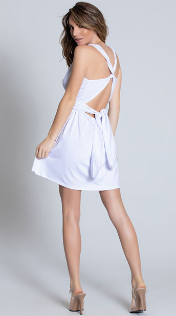 Deep V-Neck Tie Dress - White