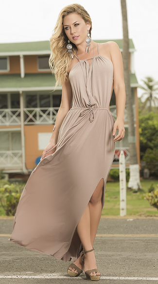 Loose Halter Maxi Dress, Mocha Maxi Dress, Flowy Maxi Dress