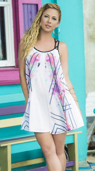 Modern Abstract Sundress, White Modern Sundress, Abstract Sundress