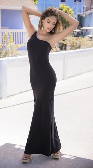 One Shoulder Maxi Dress - Black