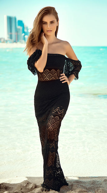 Three Piece Crochet Beach Set - Black