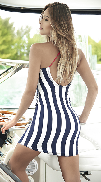 Striped Navy Sun Dress - Navy