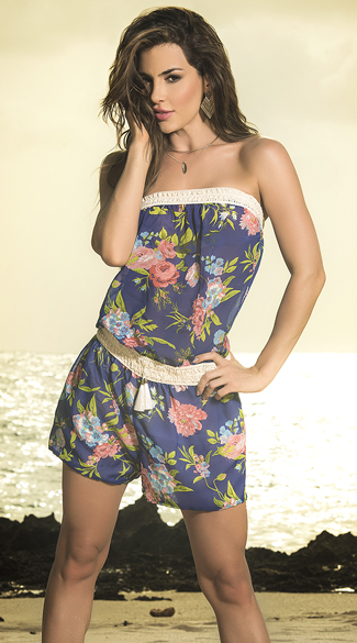 Strapless Floral Romper, Blue Romper, Strapless Lace Romper