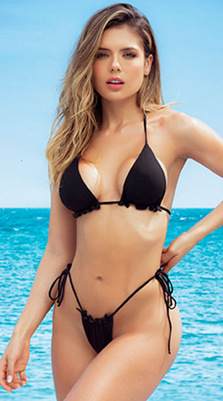Pine Cay Ruffled Bikini Swimsuit - Black
