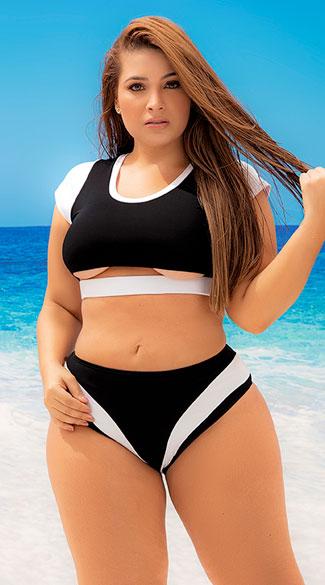 Plus Size Maldives Sporty Two Piece Swimsuit - Black/White
