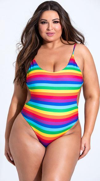 Plus Size Reveal Your True Stripes One Piece Swimsuit - Rainbow Prints