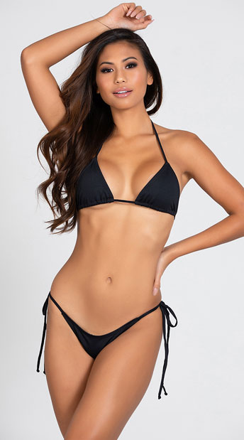 Two Piece Thong Bikini - Black
