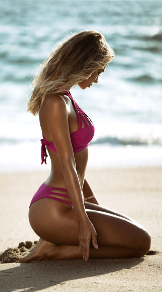 Multi-Strapped Knotted Bikini - Hot Pink