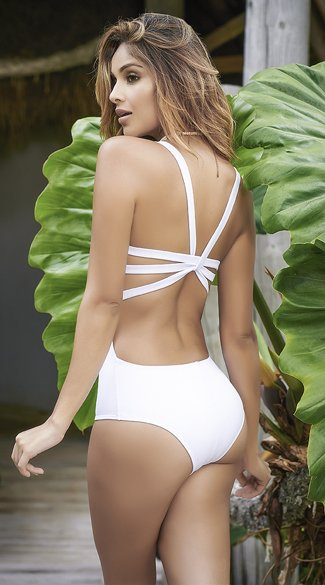 Strappy Racerback One Piece Swimsuit - White