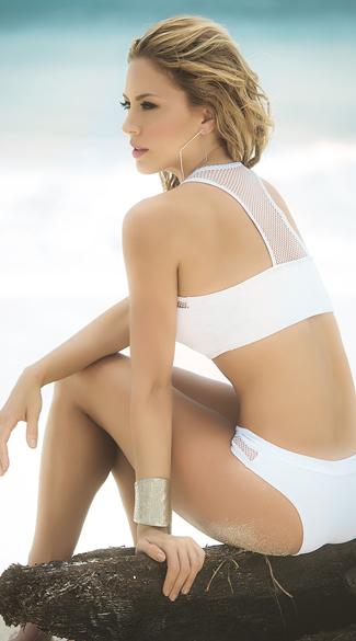 White Fishnet Longline Bikini - White