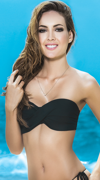 Twist Bandeau Bikini Top with Removable Straps, Bandeau Bikini Top, Strapless Bandeau Top