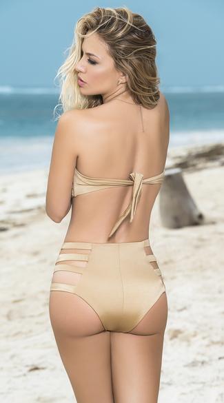 Strappy High Waisted Bandeau Bikini Twist Bandeau Bikini