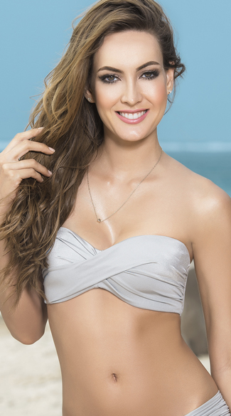 Twist Bandeau Bikini Top with Removable Straps - Silver