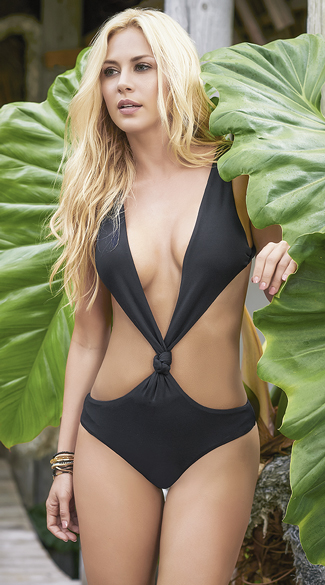 Plunging Knotted Monokini - Black