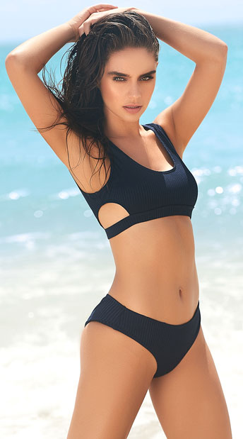 All Aboard Bikini Swimsuit - Navy Blue