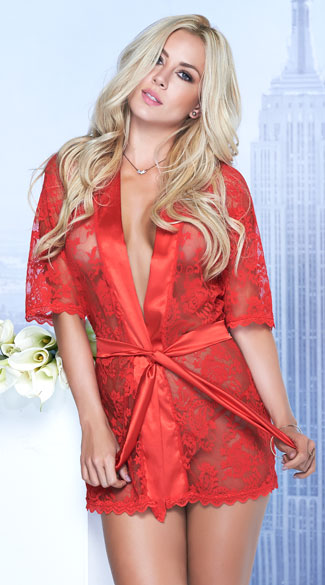 Satin and Lace Short Robe - Red