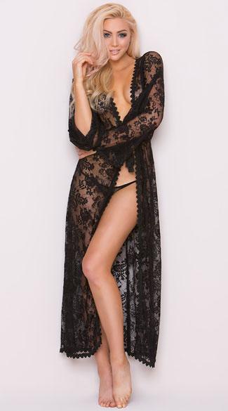 543e0eb1dbf Long Sheer Lace Robe - Black ...
