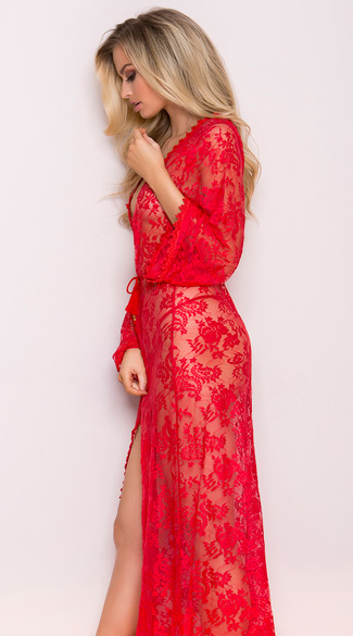 Long Sheer Lace Robe Long Sheer Robe Long Lace Robe