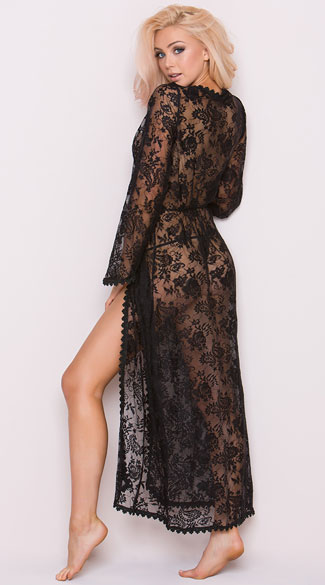 80fe2e3c99d ... Long Sheer Lace Robe - Black