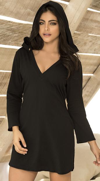 Heavenly Hooded Sleep Shirt - Black
