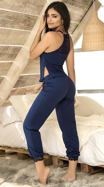 Lovely Lace Pajama Pant Set - Navy