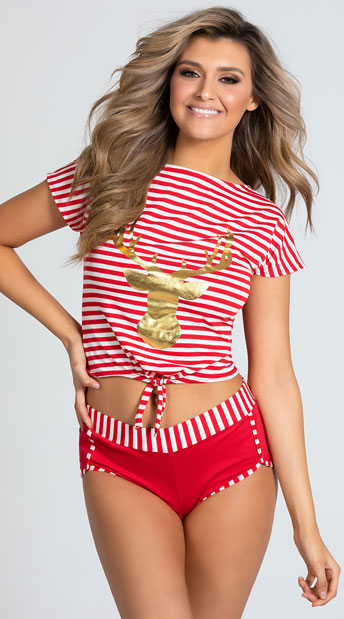Dreamy Doe-Eyed Pajama Set - Red