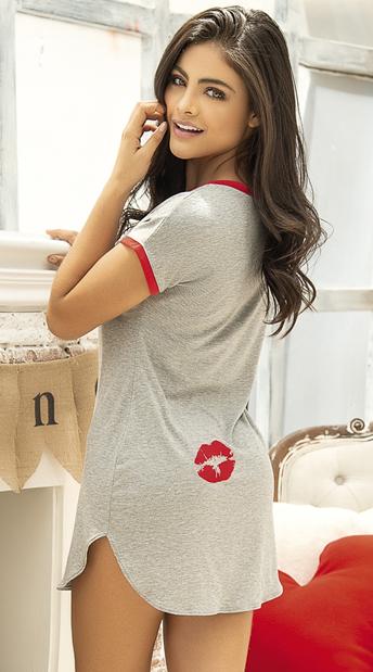 Shut Up and Kiss Me Sleep Shirt - Grey