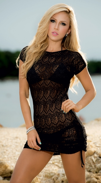 4fe999bf8d341 Cinch Side Beach Dress - Black ...