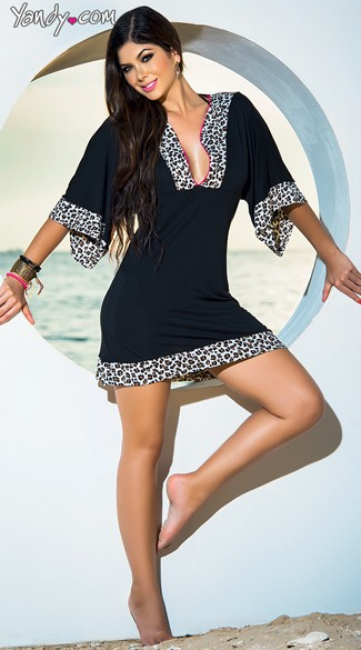 Lovely In Leopard Beach Dress, Leopard Trim Summer Dress