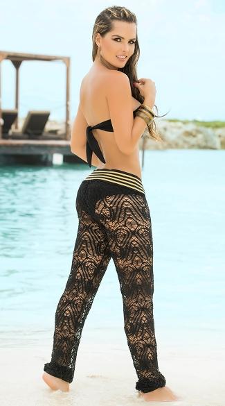 Sexy Sheer Beach Pants, Comfy Long Summer Pants, Black And ...
